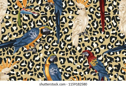 Raster Image. Blue and yellow macaw, scarlet macaw, cockatoo birds and Bird of paradise flower Seamless Pattern in high resolution.