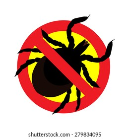 raster image of a tick in a red crossed-out circle - ticks stop sign