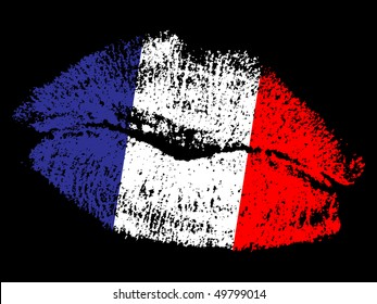 (raster image of vector) french kiss