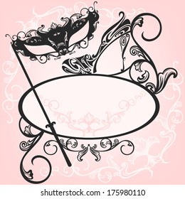 raster - invitation to masquerade party - elegant carnival design with mask and shoe ornate outlines