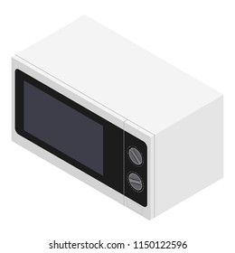 Raster isometric 3d microwave heater oven. White microwave icon. Kitchen equipment.