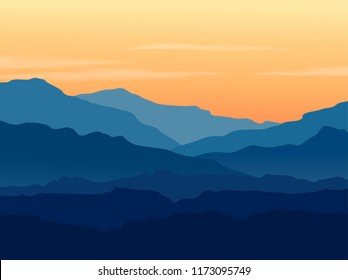 Raster landscape with blue silhouettes of mountains and hills with beautiful orange evening sky. Huge mountain range silhouettes in twilight. Raster hand drawn illustration.