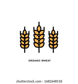 Raster logo Wheat ears linear icon for business, agriculture, beer, bakery, Gluten free. Black Line illustration isolated on white background.