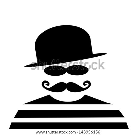 86c8075fe154b raster man with derby hat and mustache wearing prison striped shirt -  Illustration