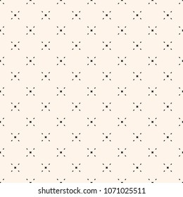 Raster minimalist background. Simple geometric seamless pattern with tiny diamond shapes, rhombuses, crosses. Subtle abstract texture. Delicate design for decor, prints, fabric, textile, cloth, paper