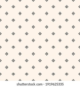 Raster minimalist background. Simple geometric seamless pattern with tiny floral silhouettes, small diamond shapes, crosses. Subtle monochrome abstract texture. Delicate design for decor, print, web