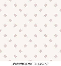Raster minimalist floral geometric seamless pattern. Subtle texture with small crosses, squares, flower silhouettes. Simple pixel art background. Light pink and beige color. Delicate repeated design