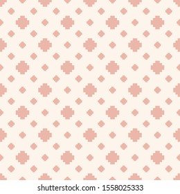 Raster minimalist floral geometric seamless pattern. Subtle white and pink texture with small crosses, squares, flower silhouettes. Simple pixel art background. Minimal repeated decorative design