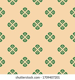 Raster minimalist floral geometric seamless pattern. Simple texture with small curved shapes, flower silhouettes, petals, leaves. Abstract background in dark green and tan colors. Retro style design
