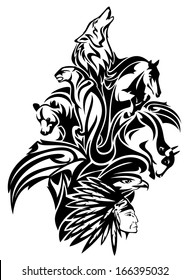 raster - Native American chief with animal spirits design - black and white tribal composition (additional format also available)