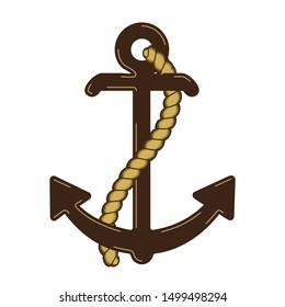 Raster Nautical Anchor Logo. Icon. Maritime. Sea Ocean Boat Illustration Symbol