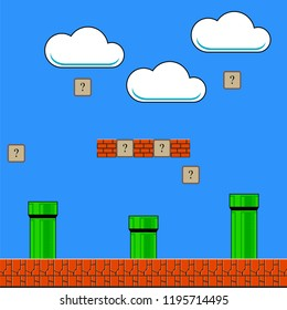 Raster Old Game Background. Classic Retro Arcade Design with Pipe and Brick