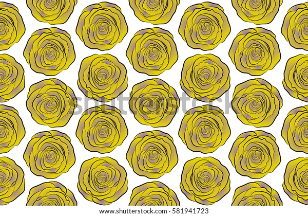 Raster open flowers and buds seamless pattern on a white background. A vintage style watercolor drawing of a branch of violet and yellow roses.