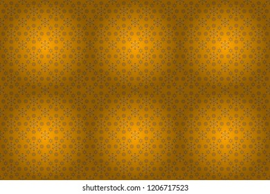 Raster oriental style arabesques. Seamless pattern with golden elements, curls and ornaments on a yellow background.
