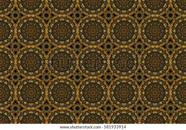 Raster oriental style arabesques. Seamless pattern with golden elements, curls and ornaments on a black background.