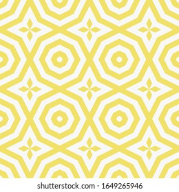 Raster ornamental geometric seamless pattern. Elegant texture with floral shapes, diamonds, octagons, repeat tiles. Abstract ornament in oriental style. Simple background in yellow and white color