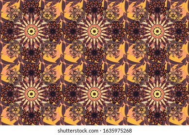 Raster ornaments. Seamless pattern can be used for wallpaper, web page background, surface textures. Ornate zentangle texture, endless pattern with abstract flowers. Seamless pattern with flowers.