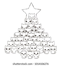 Raster pattern for print. Ilustration with cats and dogs for design of posters, prints, invitations, greetings, childbook, flyers and antistress pictures for coloring. Happy New Year tree