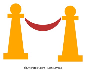 Raster private party stanchions flat icon. Raster pictograph style is a flat symbol private party stanchions icon on a white background.