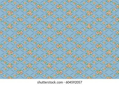 Raster rose flower miniprint seamless pattern on a blue background. Stylized hand drawn little rose flowers.
