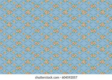 Raster rose flower miniprint seamless pattern on a blue background. Stylized hand drawn little rose flowers.