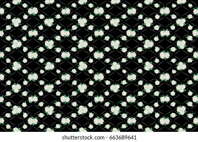 Raster rose flower miniprint seamless pattern in gray and pink colors on a black background. Stylized hand drawn little flowers.