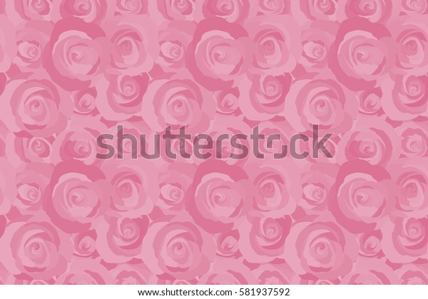 Raster rose flowers seamless pattern. Hand painted illustration in pink colors.