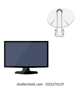 raster satellite dish tv antenna, television antenna, new modern lcd TV monitor icon set. Realistic satellite antenna