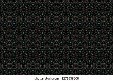 Raster seamless background. Colored patterns antique. Floral ornament in brown, yellow and blue colors on a black background.