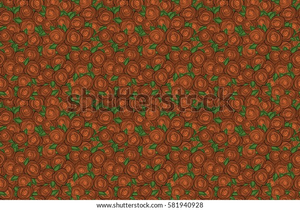 Raster seamless background with colored spots. Seamless background in orange roses and green leaves.