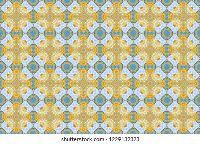 Raster seamless bandana print with paisley ornament. Cotton or silk headscarf, kerchief square pattern design, oriental style in blue, yellow and orange colors.