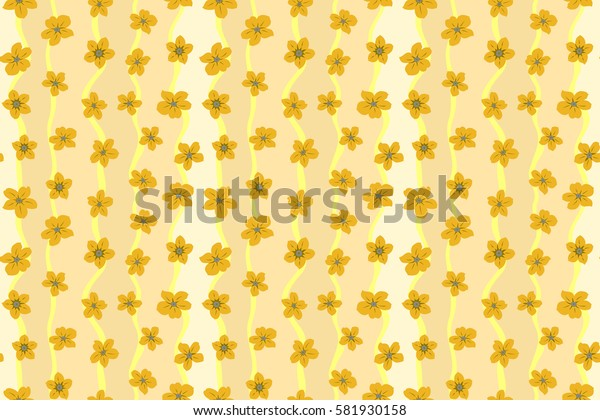 Raster seamless colorful floral pattern. Hand drawn floral texture, yellow decorative flowers.