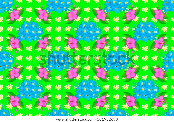 Raster seamless colorful floral pattern on a green background. Hand drawn floral texture, motley decorative flowers.