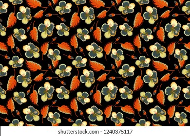 Raster seamless floral pattern with hibiscus flowers and leaves in orange, blue and black colors.