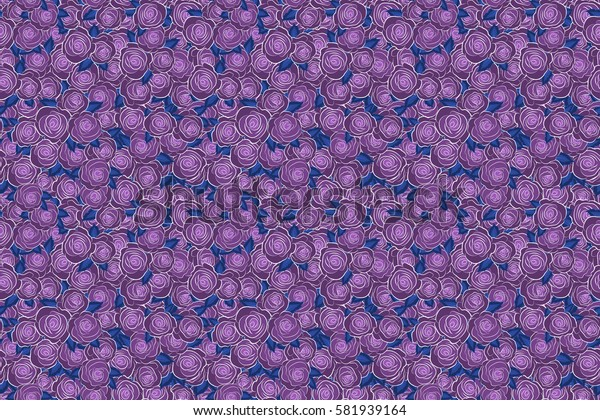 Raster seamless pattern with abstract violet roses. Decorative floral background with flowers of roses.