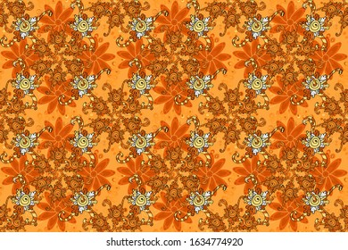 Raster seamless pattern with black, yellow and orange tulip flowers. Can be used as greeting or wedding background. Spring tender design for natural cosmetics, perfume, florist shop. Best for wrapping
