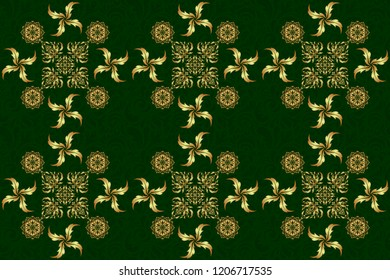 Raster seamless pattern with gold ornament. Golden ornate illustration for wallpaper. Traditional arabic decor on a green background. Ornamental lace tracery. Vintage golden elements in Eastern style.