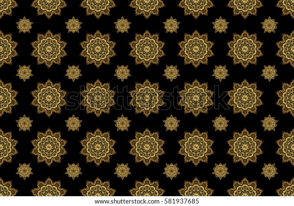 Raster seamless pattern with gold ornament. Traditional arabic decor on a black background. Vintage golden elements in Eastern style. Ornamental lace tracery. Golden ornate illustration for wallpaper.