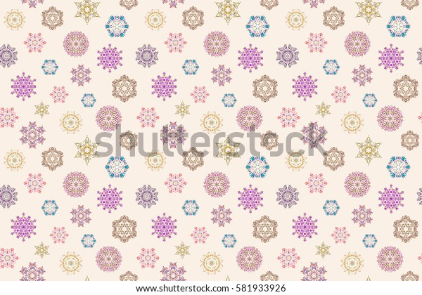 Raster seamless pattern on white background. Winter background with snowflakes and dots.