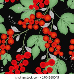 Raster seamless pattern with red currant berries (ribes), green leaves on black background. Elegant floral texture. Folk style botanical illustration. Abstract repeatable background. Design for decor