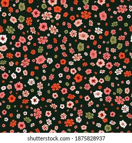 Raster seamless pattern with small scattered flowers. Liberty style print. Elegant floral background. Simple ditsy texture with colorful poppies on black backdrop. Repeat design for decor, wallpapers