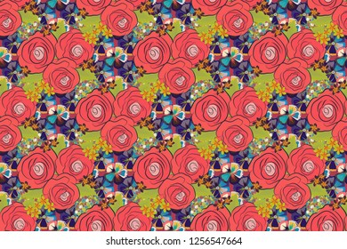 Raster seamless pattern with stylized pink, blue and violet roses. Square composition with abstrct vintage roses.