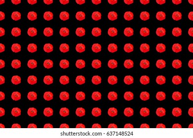 Raster seamless pattern with stylized poppies on a black background. Square composition with abstrct vintage multicolored poppies.