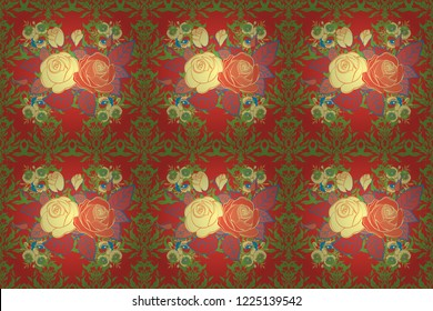 Raster seamless pattern with stylized red, green and yellow roses. Square composition with abstrct vintage roses.
