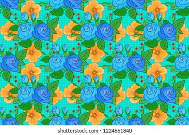 Raster seamless pattern with stylized yellow, blue and green roses. Square composition with abstrct vintage roses and green leaves.
