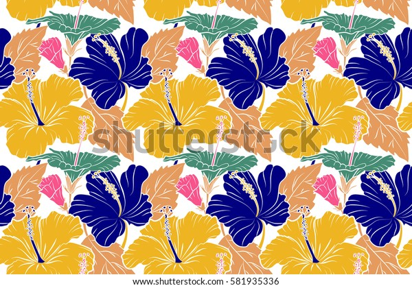 Raster seamless pattern of tropical hibiscus flowers in yellow, pink and orange colors with watercolor effect on white background.