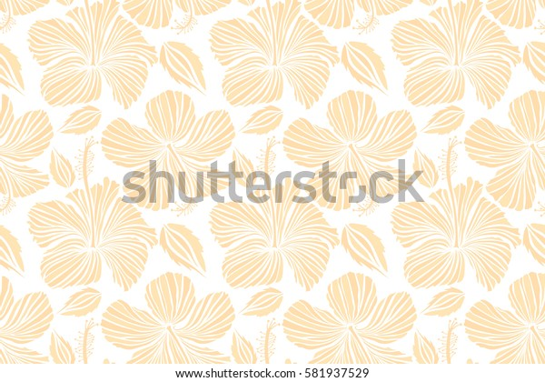 Raster seamless pattern of tropical hibiscus flowers in beige and white colors with watercolor effect on white background.
