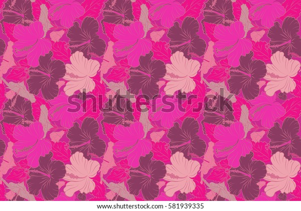 Raster seamless pattern of tropical hibiscus flowers in magenta, purple and pink colors with watercolor effect.