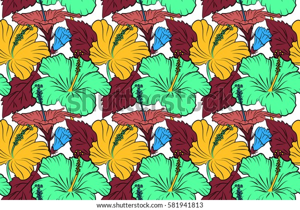 Raster seamless pattern of tropical hibiscus flowers in pink, yellow and red colors with watercolor effect on white background.
