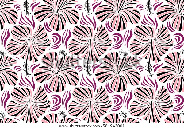 Raster seamless pattern of tropical hibiscus flowers in black and neutral colors with watercolor effect on white background.
